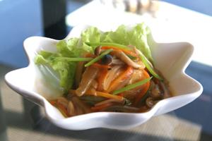 あっさり野菜の黒酢あんかけ豆腐