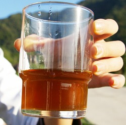 醸造期間の長い福山黒酢は美しい琥珀色をしており、香りもよく味は芳醇かつまろやか